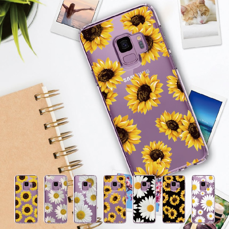 Margarita girasol flor para Samsung Galaxy Note 8 9 10 A7 A8 S8 S9 S10 Plus suave cristal TPU funda transparente protectora delgada