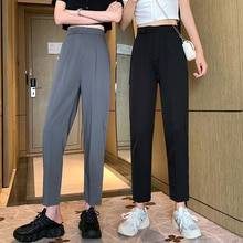 Black Suit Pants Women's Straight Loose Girlfriends Clothes Spring/Summer Thin Korean Style High Wai