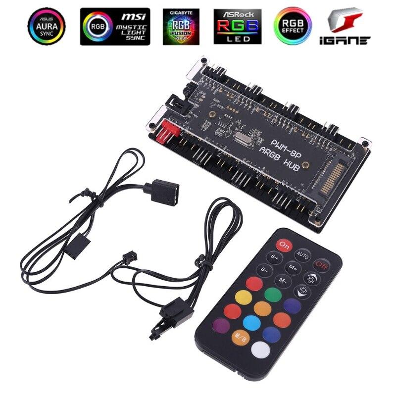 PWM FAN+ARGB LED 2in1 Sync HUB Controller 1 To 8 Multi Way Splitter 5V 3PIN RGB cooler Fan Adapter AURA ARGB Addressble