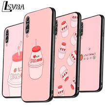 Banana Strawberry Milk Anti-fall Phone Case for Samsung Galaxy A90 A80 A70S A60 A50S A40 A20E A20 A10S Soft Black Cover
