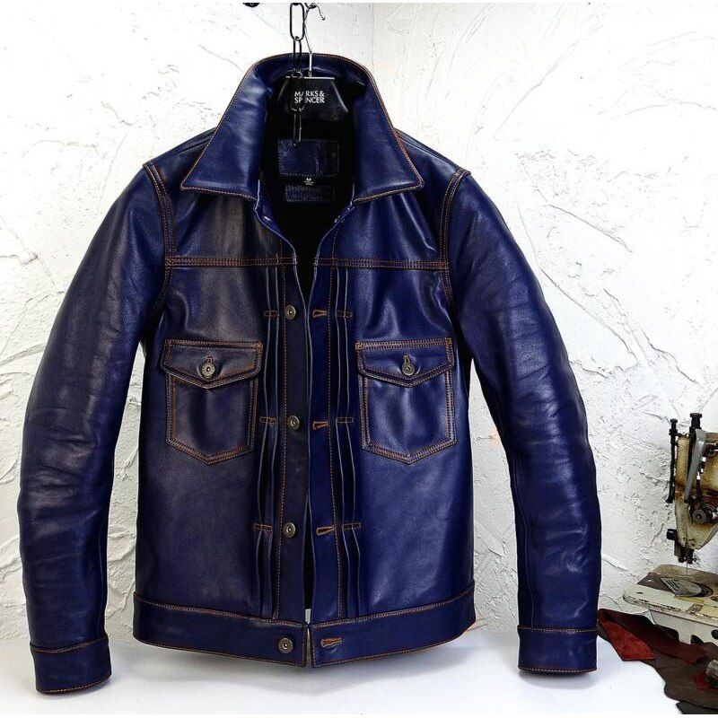 Autumn 100% Men Real Coat Clothes New Streetwear Genuine Cow Leather Jacket Blue Mens Fit Moto Biker Coats |203202170766