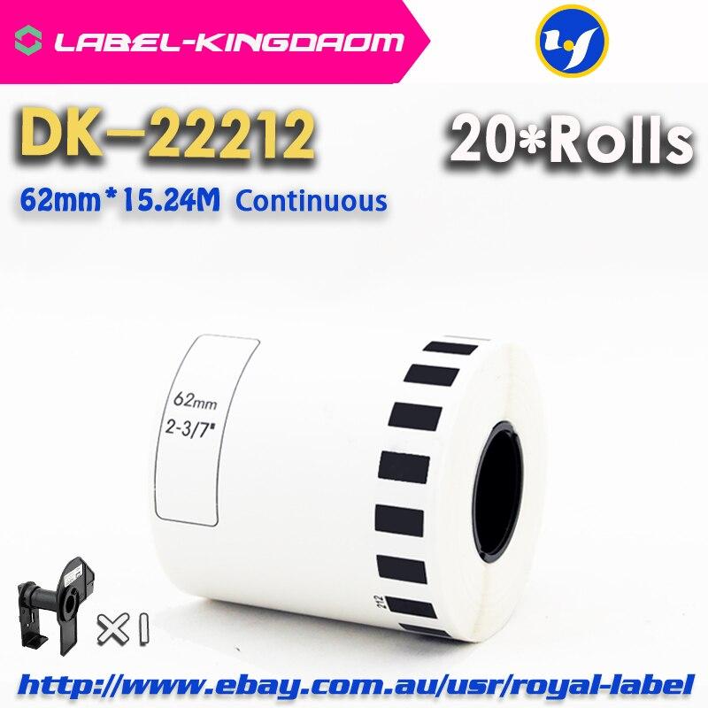 20 عبوة لفات عام DK-22212 التسمية 62 مللي متر * 15.24M المستمر متوافق لأخيه تسمية طابعة الأبيض اللون DK-2212 DK22212