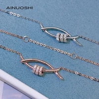 ainuoshi 18k gold round cut 0 20ct real diamond fish shape o chain necklace romantic style jewelry for engagement gift 18