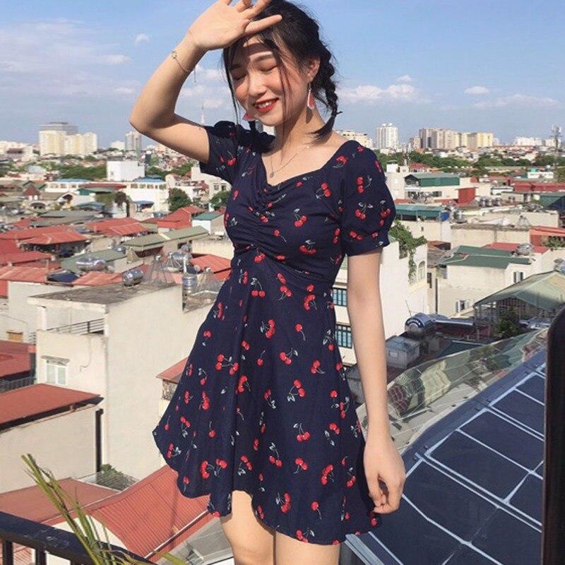 Estilo fresco de las mujeres dulce manga corta cuello pico Plaid/cereza estampado A-Line Lace Up Mini vestido Delgado