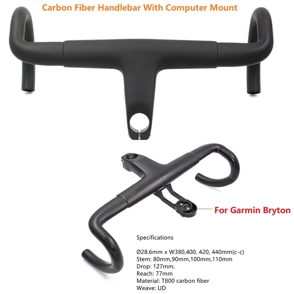 Road Carbon Fiber Handlebar 3K UD Integrated Racing Bike Handle Bent Bars 380/400/420/440mm With Garmin Bryton Computer Mount