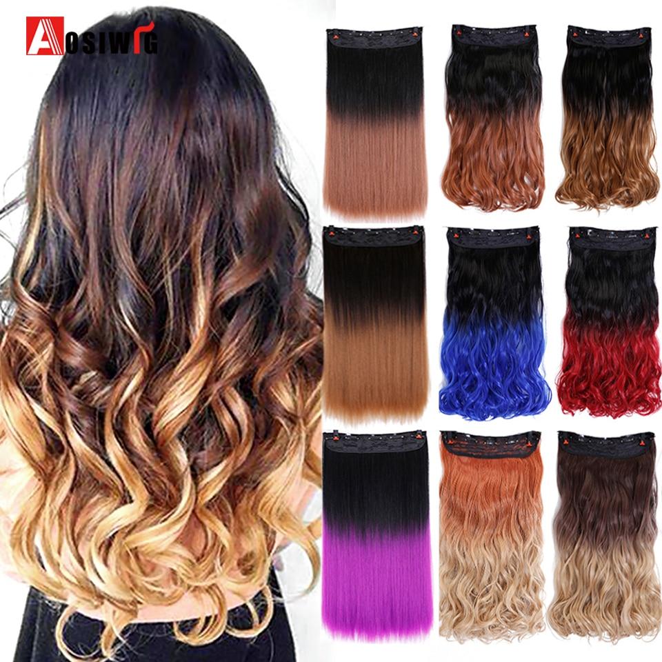 AOSIWIG largo ondulado resistente al calor piezas falsas de cabello sintético púrpura azul gris Color degradado Clip en la extensión del cabello