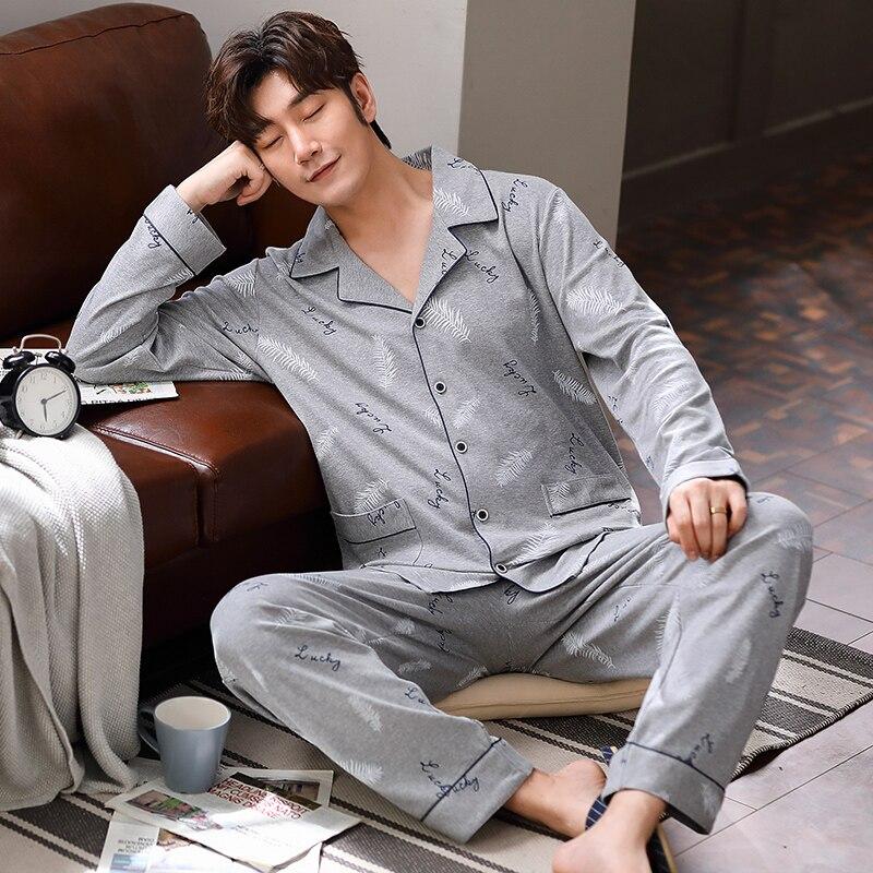 Yidanna Male Cotton Autumn Long Sleeved Pajamas Set Men Sleep Clothing Casual Sleepwear Cardigan Lapel Lounge