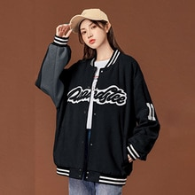 2021 Womens Casual Jacket Autumn Winter New Letter Printing Single Breasted Splicing Long Sleeve Rou