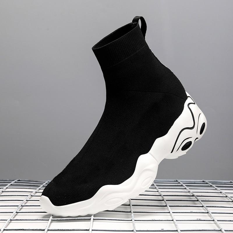Zapatillas de deporte a la moda par de zapatos informales de marca para hombre de punto alto peso ligero calcetín de ocio calcetines de tela de malla zapatos de talla grande 45