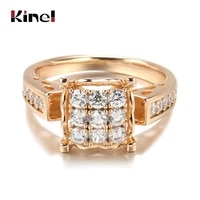kinel luxury 585 rose gold ethnic bride wedding big ring fine crystal flower natural zircon rings for women vintage jewelry