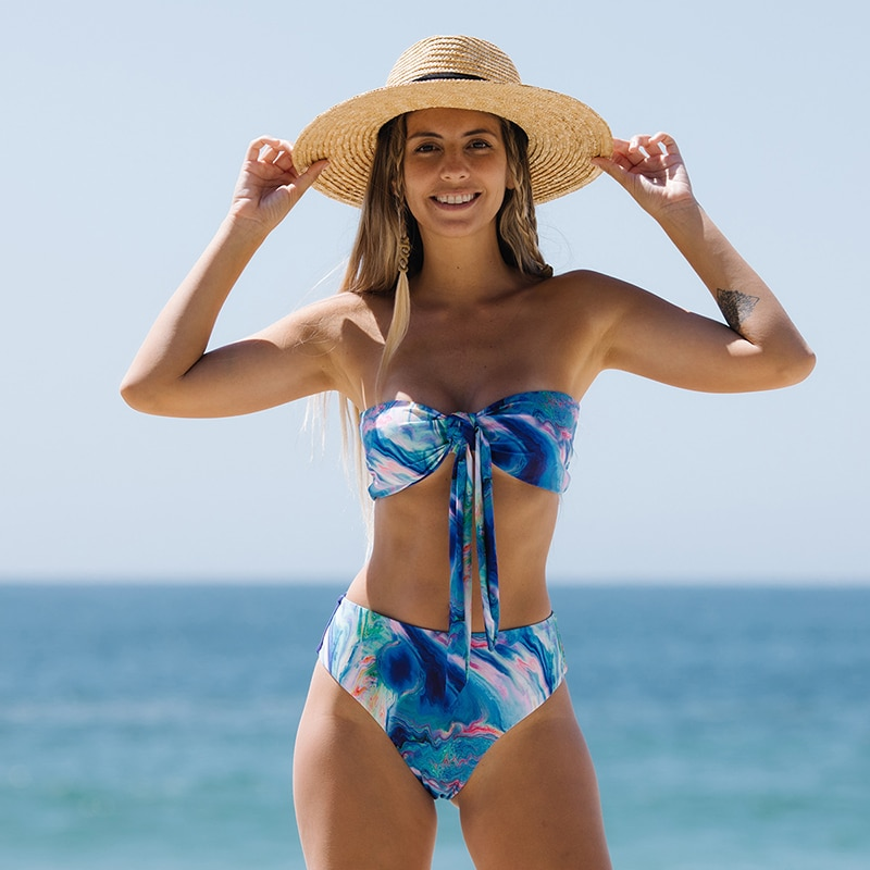 Sexy Swimwear 2021 Women Swimsuit Print Mujer Biquini Bandeau Tie Bikini Set New Push Up Swimsuit Backless High Waist Beach Wear burgundy sexy backless self tie bikini set