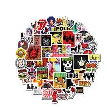 52 pièces Rock autocollant musique rétro bande Graffiti JDM autocollants à bricolage guitare moto ordinateur portable bagages planche à roulettes voiture