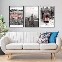 modern vintage city scene pink rail transit car new york canvas paintings poster print wall art pictures living room home decor