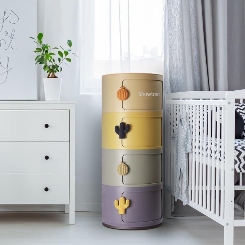 GY قوس قزح تخزين خزانة مستديرة للأطفال خزانة خزانة غرفة نوم غرفة المعيشة صندوق تخزين السرير