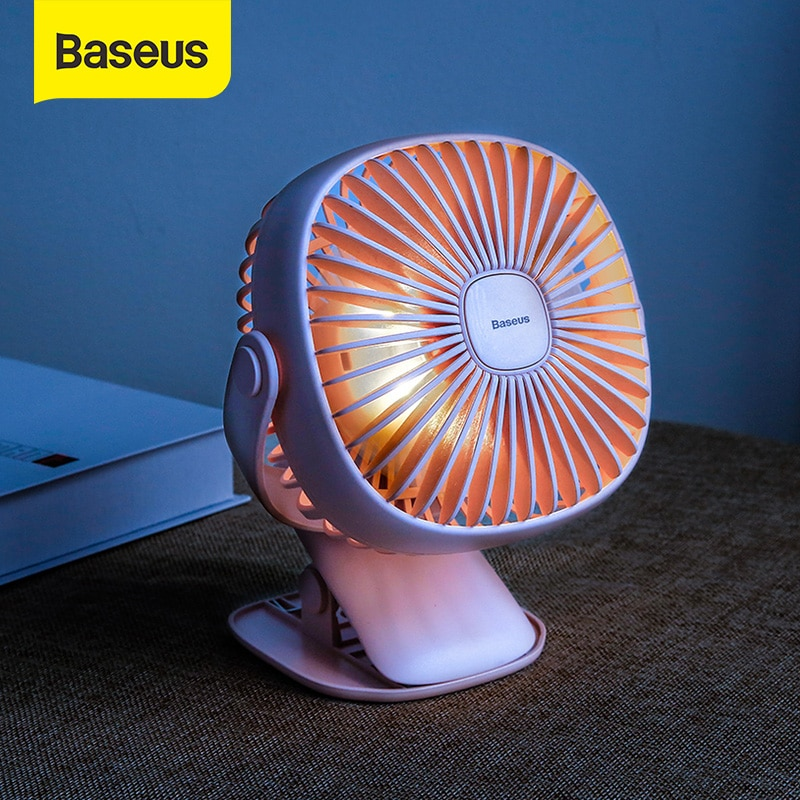 Baseus Rechargeable Fan Clip Air Cooling USB Desk Fan Dual Use Home Student Dormitory Bedside Portable Desktop Office Fan