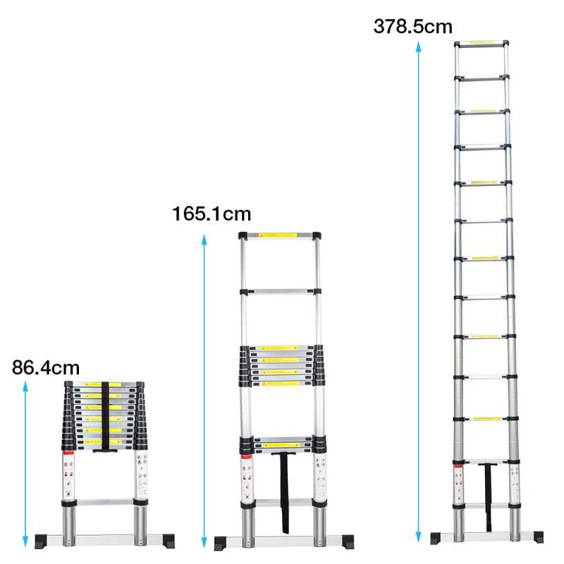 Telescopic ladder 3.8m Foldable aluminum ladders Household Step Straight Drywall Stilt Adjustable Ladder with bag and gloves