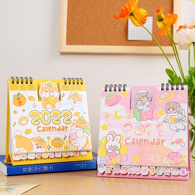 Настольный календарь 2022, настольный бумажный календарь, креативный милый мультяшный Настольный блокнот с животными, украшение для школы и ...