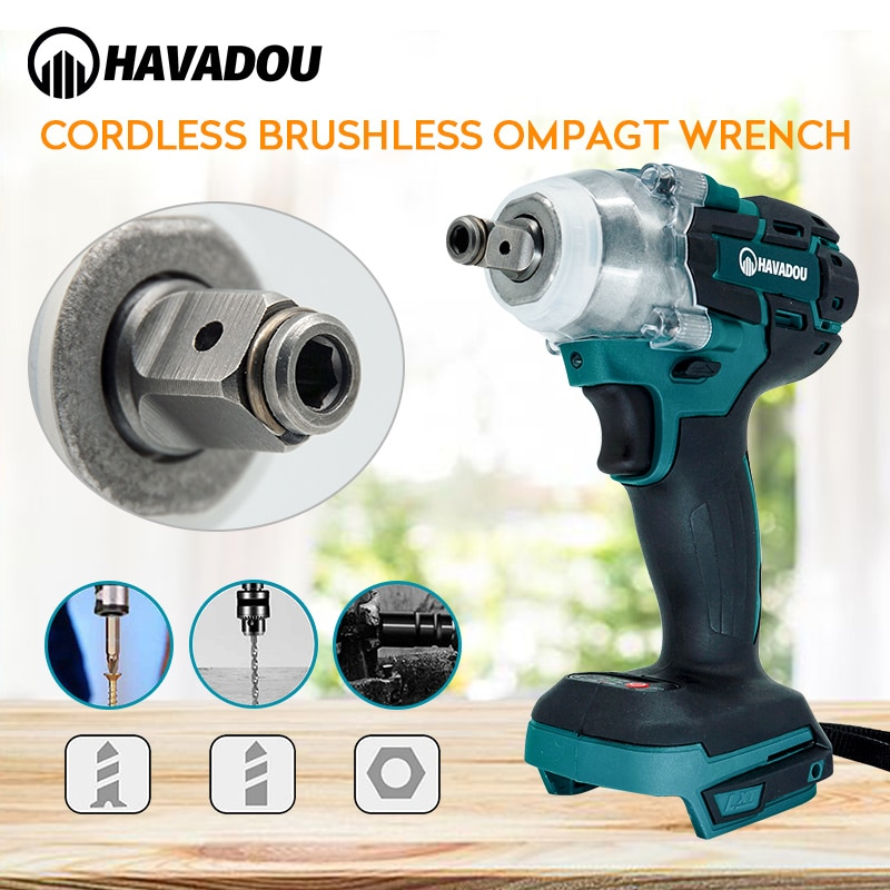 HAVADOU 21v Brushless Cordless Rechargeable Electric Impact Wrench 1/2 Wrench socket Electric Tool With Battery Accessories