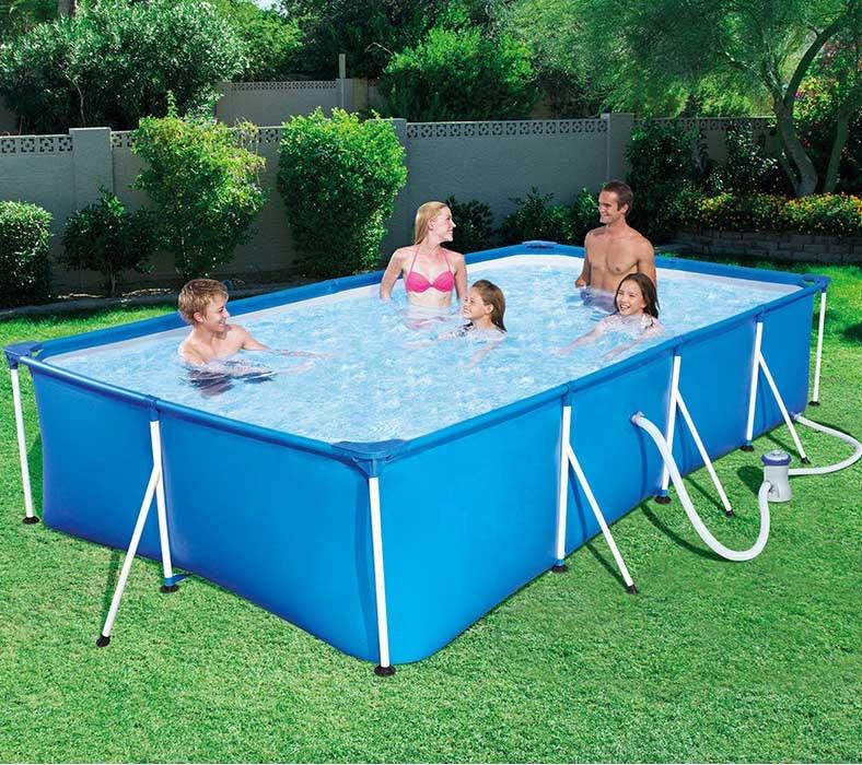 Square Swimming Pool Set Pipe Rack Pond Large Bracket Above Ground Filter Metal Frame Steel Tube Rectangular Summer Play Pool