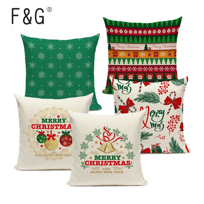merry christmas cushion cover christmas decorations for home happy new year decor christmas ornament cotton linen pillow cover pillowcase 45cm x 45cm Merry Christmas Decorative Pillowcase Xmas Tree Pattern 45*45cm  Linen Throw Pillow Cushion Cover Home Sofa Decor Pillow Cover