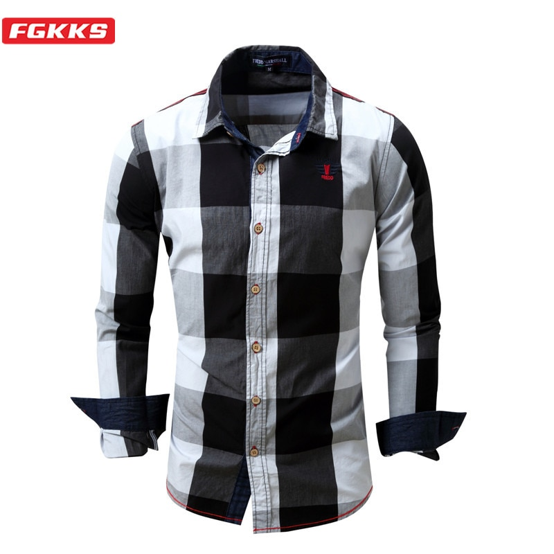 FGKKS Brand Men Plaid Shirt New Men's Outdoor Casual Long Sleeve Shirt Male Cotton Patchwork Shirts EU Size