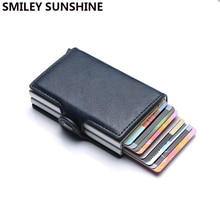 Top Quality Rfid Wallet Men Money Bag Mini Purse Male Aluminium Card Wallet Small Clutch Leather Wal