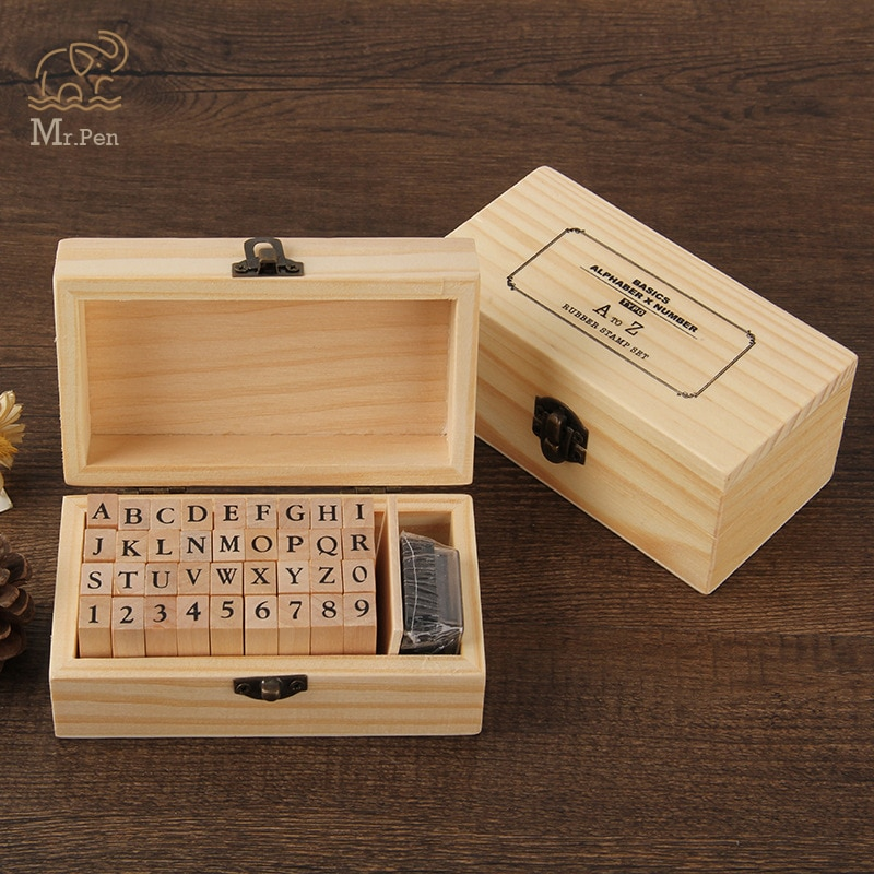 36pcs Retro Wooden Alphabet Letters Rubber Stamps Seal Set Diary Decoration Ablum Wedding Stamp Symbol Chapter