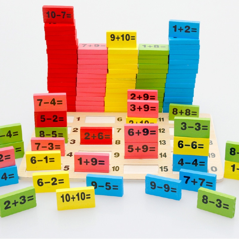 Crianças montessori brinquedos aritméticos educativos matemática de madeira brinquedos crianças dominó jogos divertidos presentes meninos e meninas brinquedos de aniversário