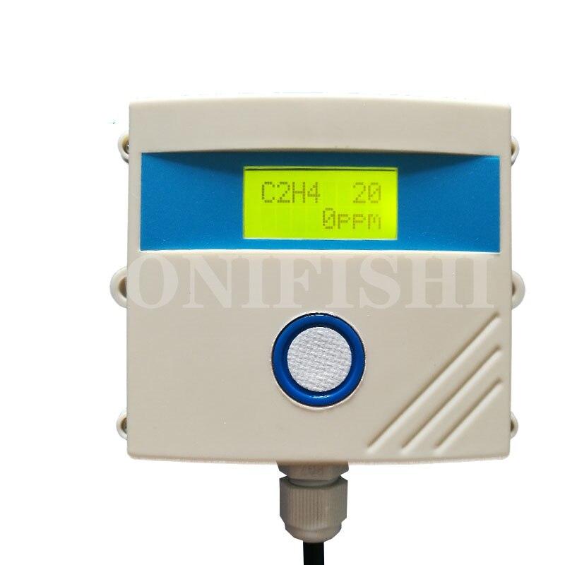 جهاز إرسال مُستشعر الإيثيلين كاشف C2H4 النضج وكيل كشف 485 Modbus RTU LCD إنذار