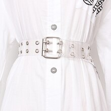 2021 Two Row PVC Clear Belt For Women Fashion Pin Buckle Female White Waist Trousers Transparent Belts Ladies Jeans Grommet Belt