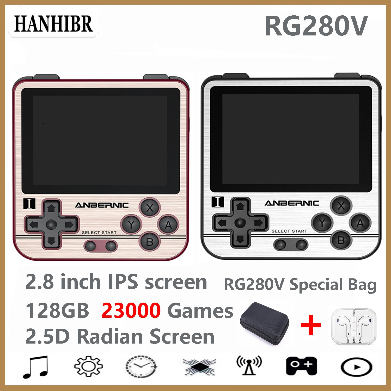 ANBERNIC-وحدة تحكم ألعاب ريترو RG280V PS1 ، 2.8 بوصة IPS Opendingux 64 جيجابايت 5000 لعبة ، وحدة تحكم صغيرة محمولة ، هدية عيد الميلاد للأطفال