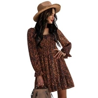 donsignet fashion womens dress new casual round neck pullover french print sexy high waist ruffled long sleeve dress