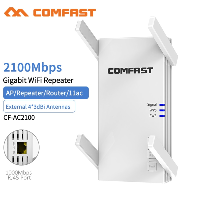 Беспроводной ретранслятор маршрутизатор AC2100 2,4G/5G, двухчастотный гигабитный Wifi расширитель с большим покрытием, внешний усилитель сигнала ...