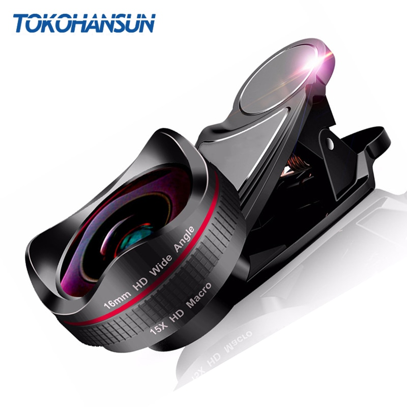 TOKOHANSUN-عدسة بزاوية عريضة ، زجاج بصري عالي الدقة 0.45x ، عدسة ماكرو فائقة 15x لهاتف iPhone 6s 7 8 Plus Samsung Huawei ، مجموعة عدسات الكاميرا