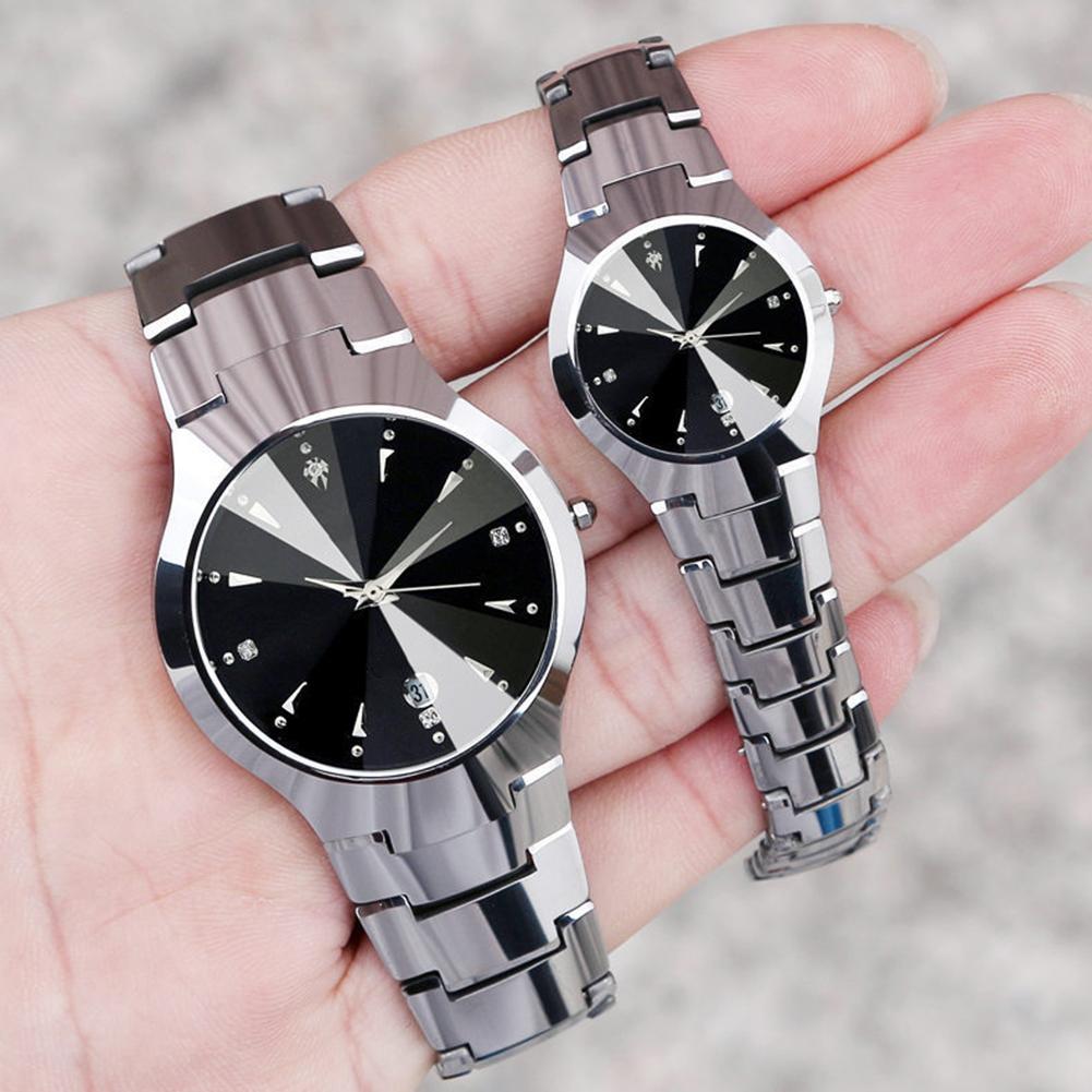 HOT!!!! New Arrival Fashion Casual Couple Round Dial Calendar Alloy Linked Strap Analog Quartz Wrist