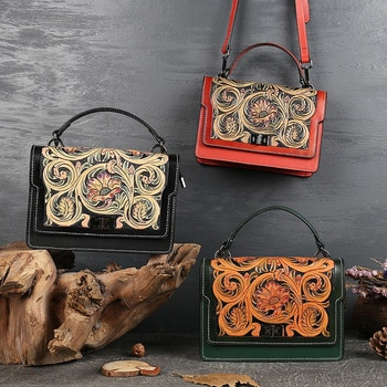 High end hand carved leather bag for women