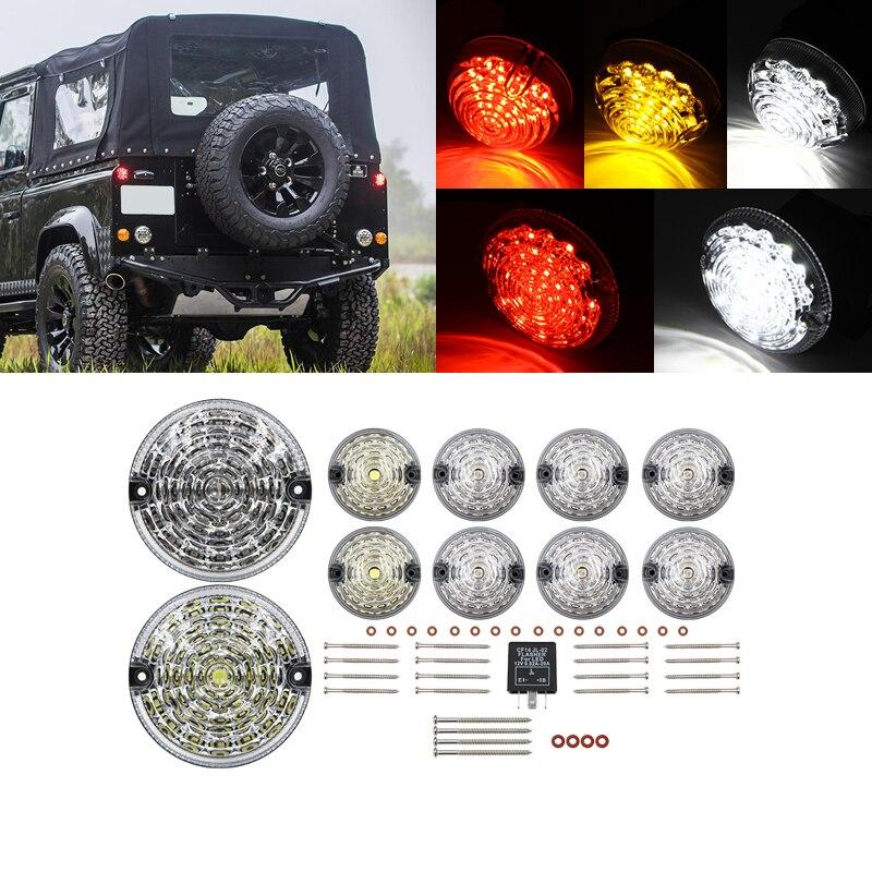 Lámpara antiniebla trasera clara de 10 Uds. Kit completo de actualización de lámpara LED para Land Rover Defender 1990-2016