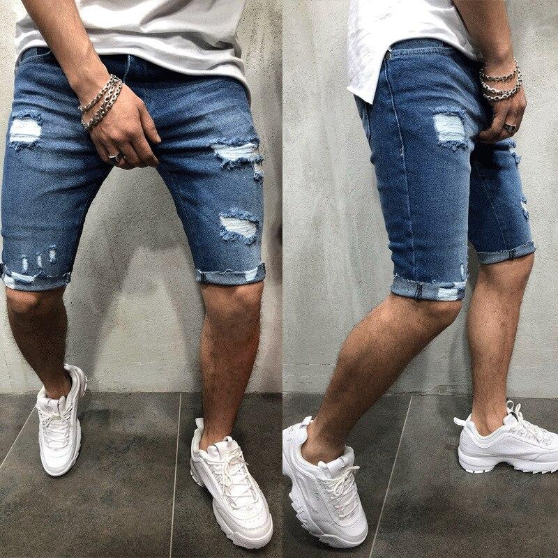 Мужские джинсовые шорты-Чино, Суперэластичные обтягивающие облегающие летние укороченные брюки-карго