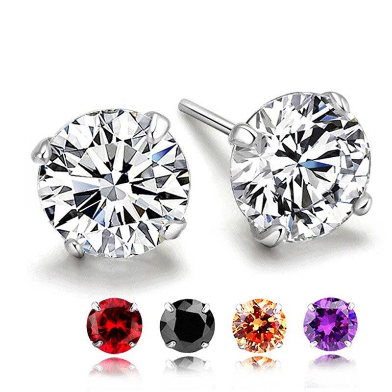 Pendientes de tuerca de piedra de nacimiento de Ley 925 para mujer, joyería de boda, pendientes de compromiso de circonita de cristal bohemios