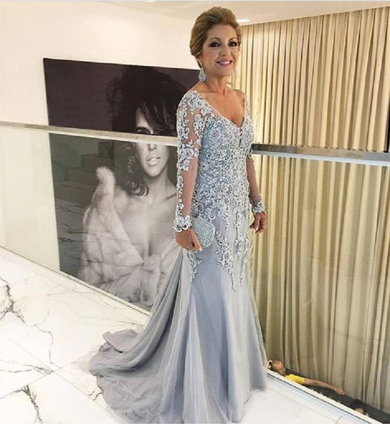 Mother Of The Bride Dresses Mermaid Long Sleeves Lace Beaded Long Wedding Party Dresses Mother Dresses For Wedding
