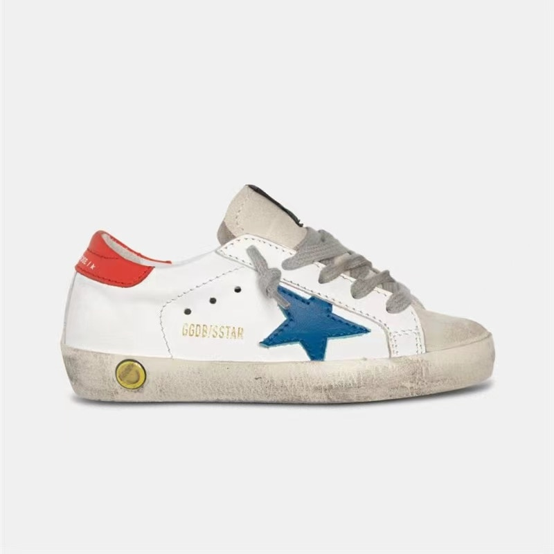 Children's Spring and Summer New First Layer Cowhide  Old Small Dirty Shoes for Boys/ Girls Red Tail Strap Kids Sneakers CS183 enlarge