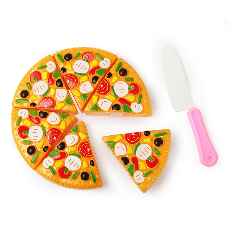Juguetes de corte de cocina para niños, Pizza de plástico con cuchillo, Comida en miniatura de imitación, juguetes educativos para niños, regalo para niñas