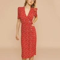 women 2021 a line dress flower print vintage dress v neck front button summer sexy midi dress short sleeve maxi vestidos robe