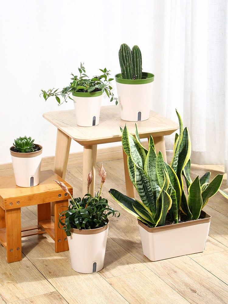 Cesta de Plástico Vaso de Flores Estande Interior Grande Auto Absorvente Plantando Vegetais Semillas Plantas Casa Jardim Ef50fp