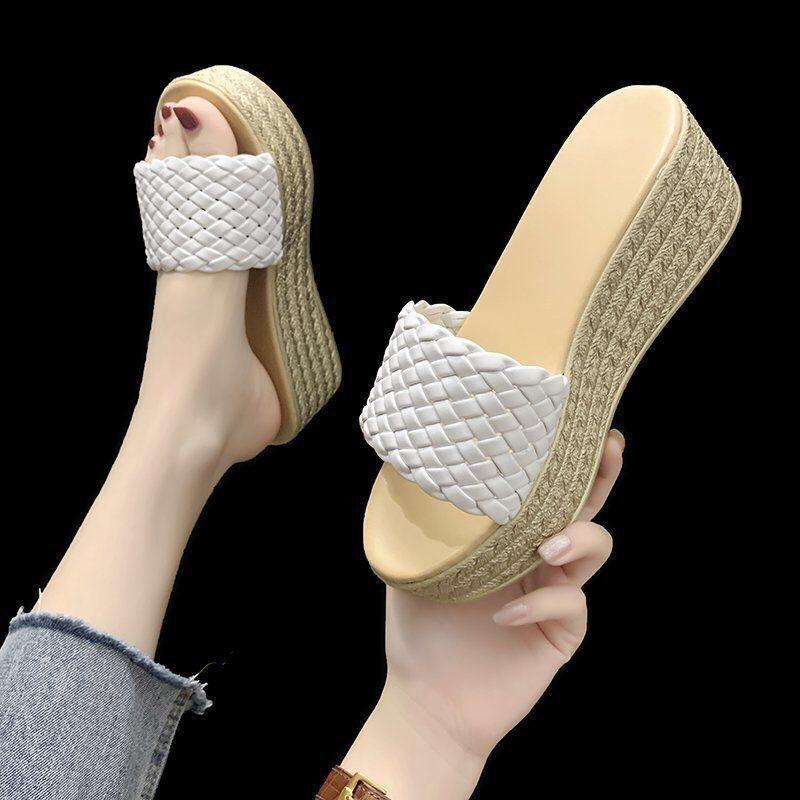 Summer Wedges Slippers Platform High Heels Women Slipper Ladies Outside Shoes Basic Clog Wedge Slipper Flip Flop Sandals