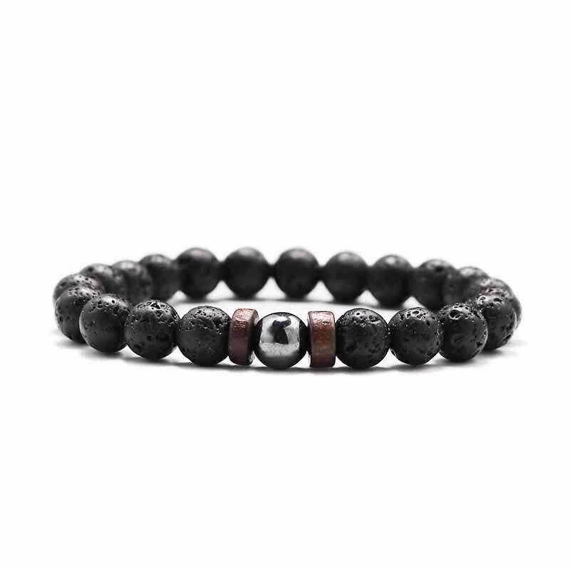 8mm natural lava stone beads bracelet handmade men women bracelets wood pulseras Jewellery for pulse