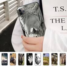 Funda de teléfono Stule A rinoceronte con cuerno afilado para Iphone 11 Pro 5 6 7 8 11 Pro Max Xr Xs PlusSoft Tpu, funda