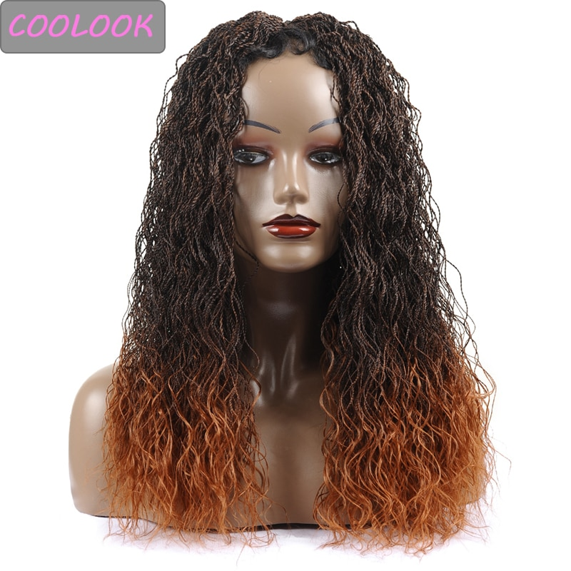 Brown Small Twist Braids Lace Front Wigs for Afro Women 30 Inch Long Senegal Twisted Lace Braided Wig Heat Resistant Cosplay Wig
