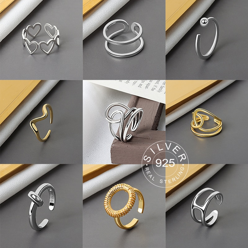 925 Sterling Silver Smooth Rings For Women interweave Jewelry Beautiful Finger Open Rings For Party