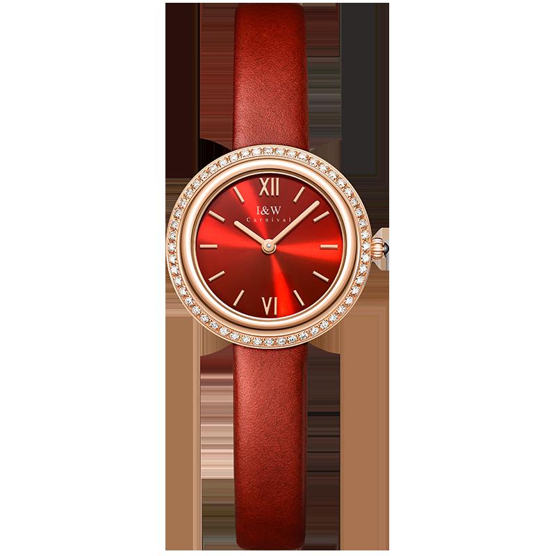 I & W 2021 ساعة نسائية فاخرة موضة عادية 30 متر مقاوم للماء ساعات كوارتز للنساء إيطاليا حزام من الجلد السيدات ساعة اليد الأنيقة